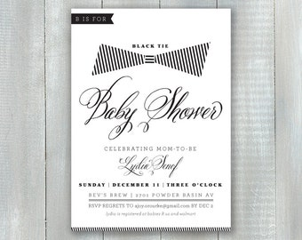 Black Tie Baby PDF Invitation