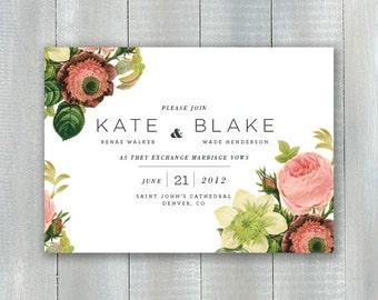 Modern Floral PDF Invitation Set