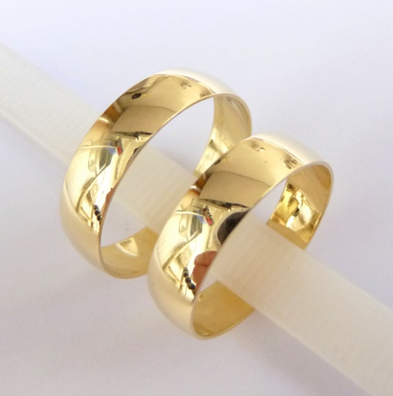 Wedding Bands Set Women S Men S Wedding Rings Gold 5mm Etsy