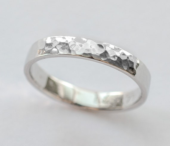 White Gold Wedding Ring Women Men Wedding Band Hammered Etsy