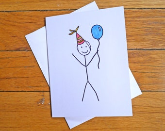 Funny birthday card old lady the youngest youll ever etsy funny birthday card youre not dead happy birthday stick figure rude birthday card getting old greeting cards watercolor m4hsunfo