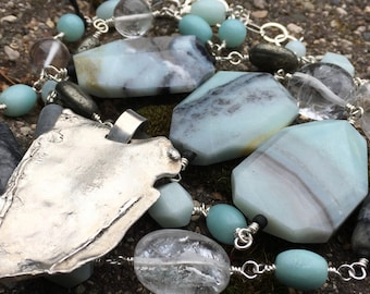 One of a Kind Amazonite Pyrite Quartz and Picasso Marble and Freeform Sterling Silver Pendant