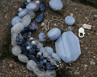 One of a Kind, Blue Cluster Necklace, Blue Lace Agate, Ice Flake Quartz, Sodalite