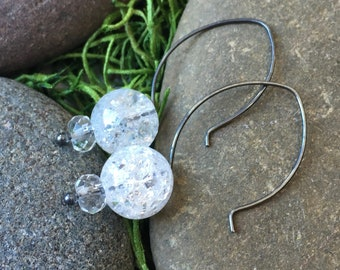 Ice Flake Quartz Stacked Stones on Oxidized Sterling Silver Hoop Ear Wires