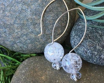 Ice Flake Quartz Stacked Stones on Sterling Silver Hoop Ear Wires