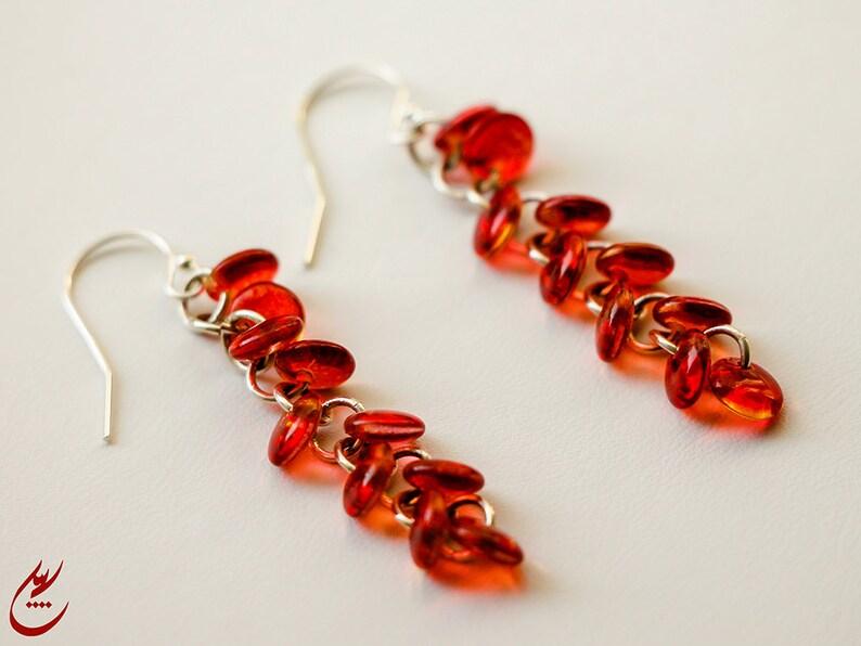 Red Cluster Earrings RedLemon Cascade Earrings Red Yellow Lentils Earrings Sterling Silver Earrings Wedding Jewelry Red Jewelry Gift