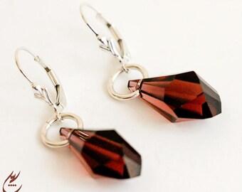 Burgundy Earrings, Sterling Silver Dangle Earrings, Marsala Swarovski Polygon Earrings, Geometric Earrings, Minimalist Style Bold Earrings