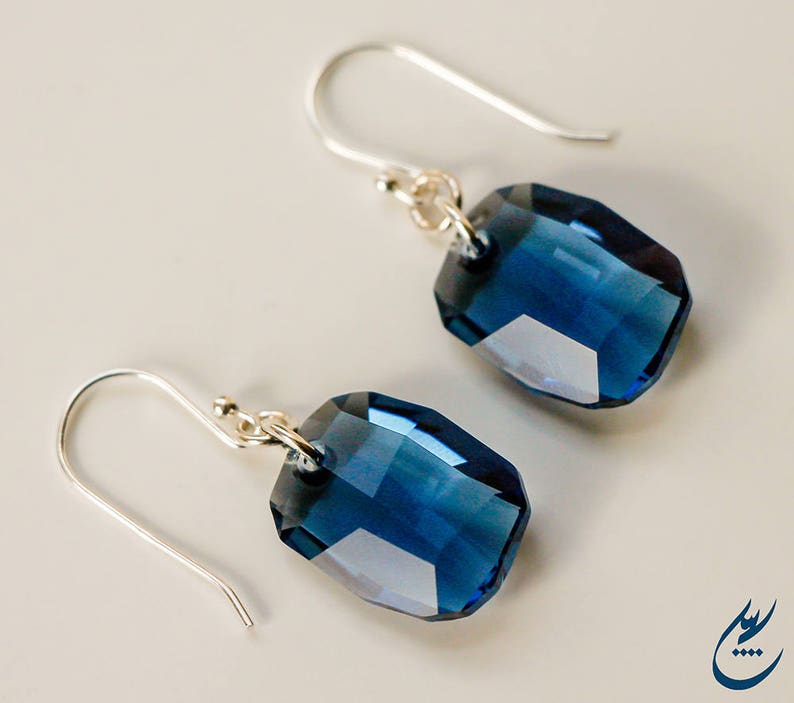 Fashion Jewelry Independent Swarovski Crystals Earrings+pendant Blue Baroque Sterling Silver Handmade