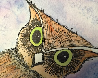 Owl Watercolor note card