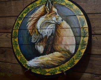 Red Fox on Wooden Barrel Lid