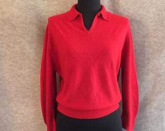 Vintage 50's Red Sweater, Long Sleeve Knit Pullover, Cropped, Rockabilly, Women's Large, Bust 42, Vegan Sweater, Vegan