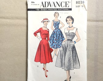 Vintage 50's Sewing Pattern, Day Dress or Evening Dress, Full Skirt, Knee Length, Advance 8028, Vintage Size 16 SMALL