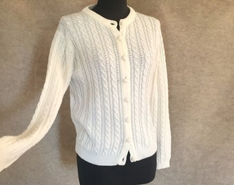 Vintage 70's Cardigan Sweater, White Cabled Knit, Small to Medium Bust 38, Vegan Friendly, White Vegan Sweater, Vegan Sweater