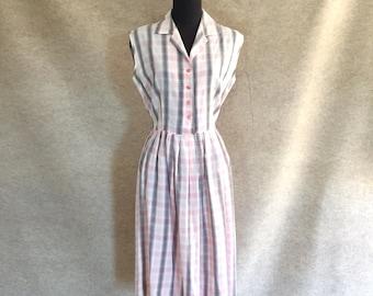 Vintage 50's Dress, Cotton Dress, 50's Sundress, White and Pink Plaid Sundress, Sleeveless, Rockabilly, Small to Medium, Bust 38, Waist 28