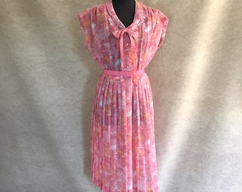 Vintage 60's Day Dress, Pink Floral, Sheer, with Pleated Skirt and Neck Tie, Large, Bust 38, Waist 32