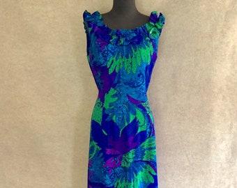 Vintage 70's Hawaiian Dress, Hawaiian Maxi Dress, Long Hawaiian Dress, Sleeveless, Blue, Barkcloth,  Medium, Bust 36, Tiki Dress, Luau