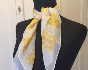 Vintage Yellow Scarf, Sheer Scarf, Chiffon Scarf, Yellow, Lavender and White Floral, 50's Rockabilly Style, Yellow Vegan Scarf, Vegan Scarf