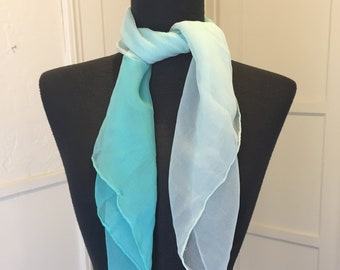 Vintage Sheer Blue Scarf, Turquoise Chiffon Scarf, Aqua Ombre, 50's 60's Style, Rockabilly, Pin Up, Blue Vegan Scarf, turquoise vegan scarf