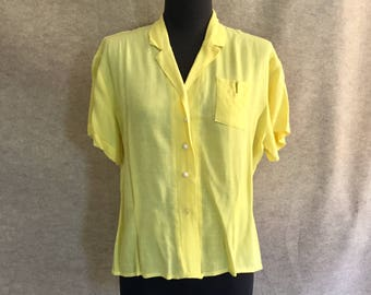 Vintage Yellow Shirt, Short Sleeve Yellow Shirt, Size Medium, Cotton Rayon Lightweight 50's Style Blouse, Top