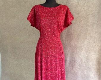 Vintage 60's Day Dress, Red Short Sleeve Dress, Red Nylon Jersey Dress, Medium, Bust 36, Waist 30, Rockabilly Style, Stretch Nylon, Vegan