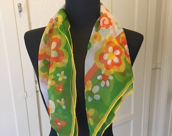 Vintage Floral Scarf, Sheer Green Floral Scarf, Chiffon Scarf, Yellow, Orange, White, Green, Hippie 60s Mod, Green Floral Vegan Scarf