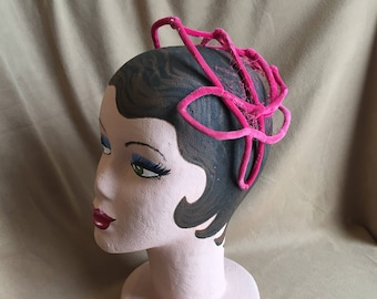 Vintage 50's Hot Pink Cage Hat, Velvet Topper with Net Accent, Rockabilly, Pin Up, Mid Century