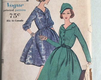 Vintage 50's Sewing Pattern, 50's Dress Pattern, Day Dress or Cocktail Dress, Full Skirt, Vogue 9626, Vintage Size 12 Bust 32, XS or SMALL,