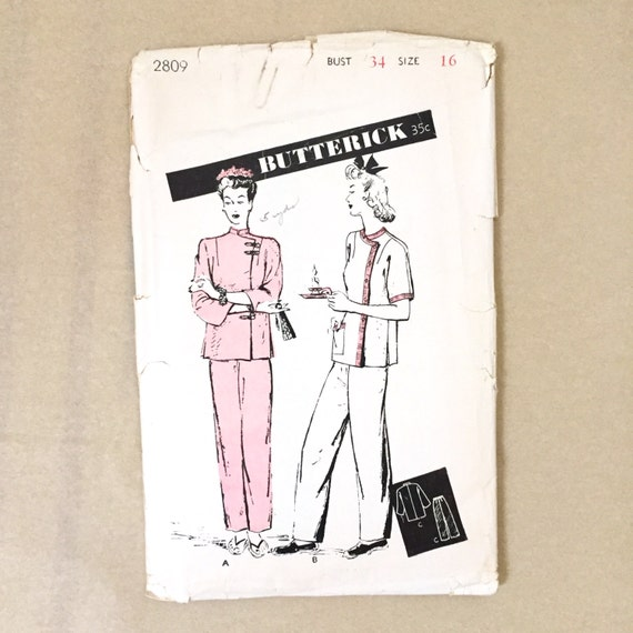 Vintage 40s Sewing Pattern Chinese Pajamas Butterick Etsy