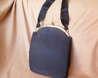 Vintage 50's Black Handbag, Satin Evening Bag, Dressy, Ladylike Top Handle, Rockabilly, Pin Up, Late 40's Purse