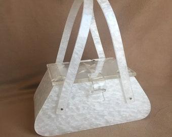 Vintage 50's Lucite Handbag, White Lucite Purse with Top Handles, 50's Retro Summer Novelty Purse, Rockabilly, Vegan Friendly