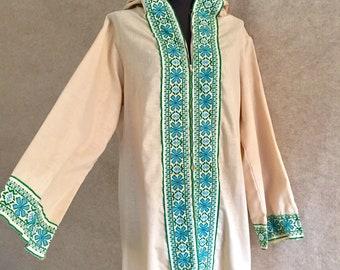 Vintage 70s Caftan Dress, Long Bohemian Dress, Long Sleeve, Medium, with Hood, Hooded Caftan, 70s Maxi Dress, Long 70s Dress
