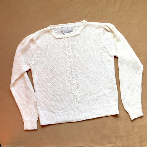 White Pullover Sweater / Soft Knit / Vegan Sweater