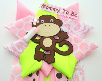 Monkey Girl Baby Shower Corsage - Pink and Lime Green - Ready To Ship - Sale Item