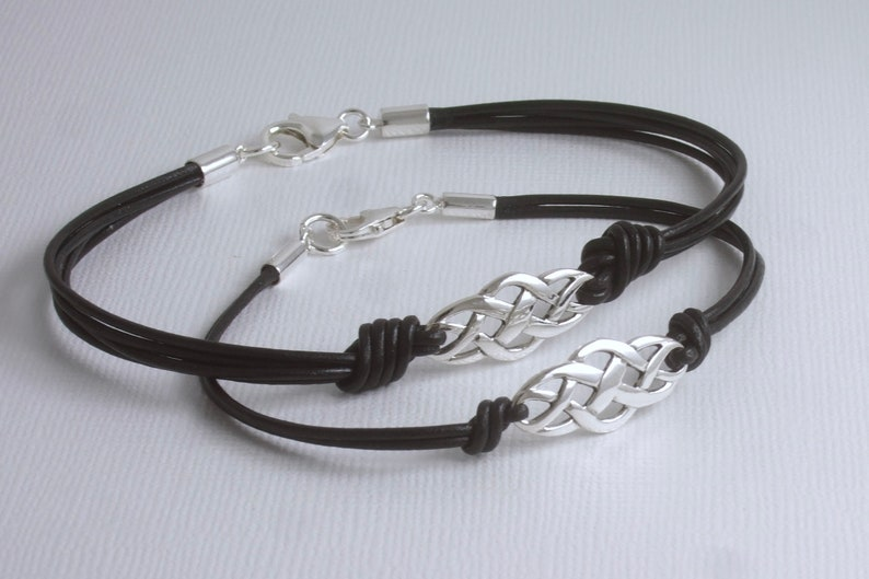 0a798441afa8a Sterling Silver Celtic Knot Leather (Black or Brown) Bracelets, His and  Hers Gifts, Anniversary (3rd is Leather), Him and Her, Eternity,Luck
