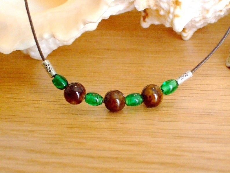 Silver Green and Brown Bead 15-18 NecklaceChoker Brown Linen Cord Unisex,Gift for MenWomen,HimHers,KidsGirlsBoys,Stocking Stuffer