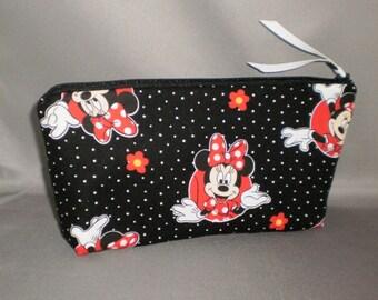 00db0e8586 Cosmetic Bag - Makeup Bag - Large Zipper Pouch - Minnie Mouse