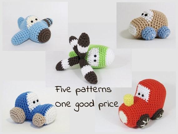 Amigurumi Vehicles Crochet Patterns Airplane Car Etsy
