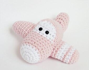 Airplane baby rattle stuffed toy - organic cotton crochet plane