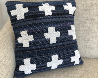 Pillow cover handwoven recycled t-shirts repurposed