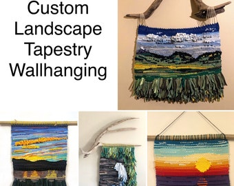 Wall hanging tapestry landscape recycled