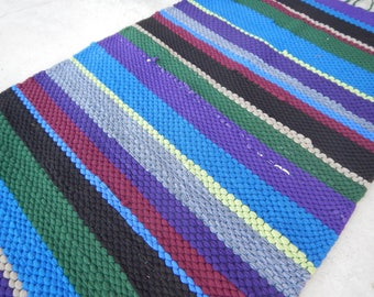 Handwoven Recycled Rug - Purple Stripes