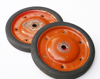 Red Wagon Wheels Set of 2