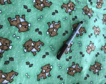 Washable, Waterproof, Reusable Puppy / Potty Pad - 18 x 24 - Green with Brown Dogs