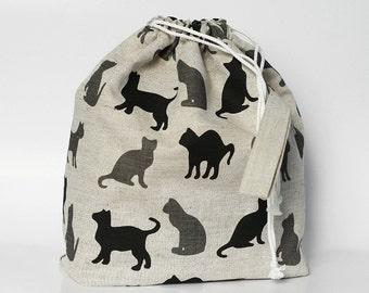 Drawstring bag. LARGE Knitting Project Bag. KITTY KITTY.... Special KnitterBag design.
