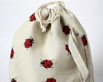 Drawstring bag. Large Knitting Project Bag. Ladybug. Special KnitterBag design.