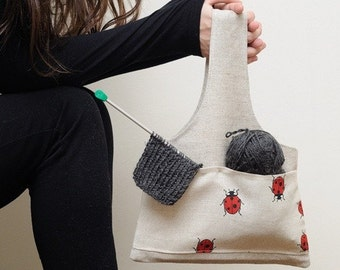 Knitter Mini Project Bag LADYBIRD... Great bag for socks knitters. Special KnitterBag design.