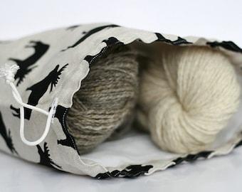 Large Knitter Project Bag. Drawstring bag. ELK design. Special KnitterBag design. Knitters gift. Wedge bag.