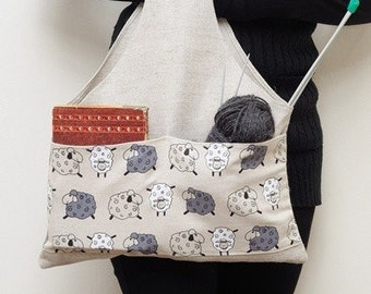 Knitting Project Bag, Craft Organizer for Knitter, Knitting Bag, Knitting Pocket, Printed Sheep. Special KnitterBag design. READY TO SHIP