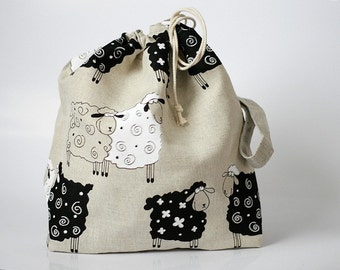 Large Knitting Project Bag. LUCKY SHEEP. Special KnitterBag design. Crochet Knitting Project Bag WIP organizer Spindle Bag Gift for Knitter