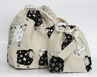 Set of 2 Knitter Project Bags. LARGE and Mini.